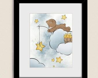 11 x 14 Teddy Bear Nursery Wall Art, Girls or Boys Room Decor, Baby Blue Sky and Stars Childrens Art Print (156)