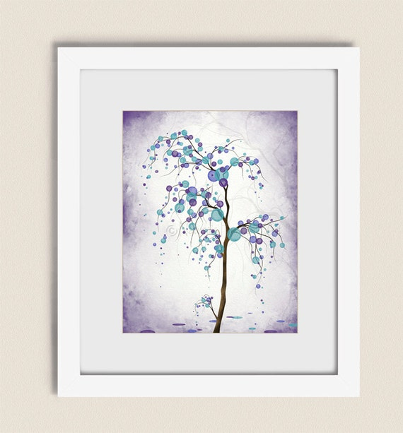 11 x 14 contemporary art living room print purple and aqua for Living room 11 x 14