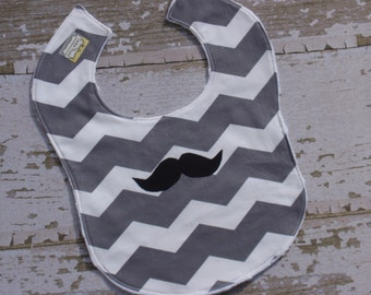 Ready to Ship-The Couture Mama  Toddler Bib, Chevron and Mustache