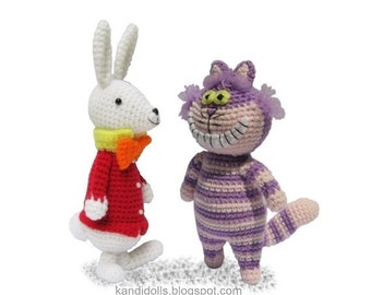 ENGLISH Instructions - Instant Download PDF Crochet Patterns White Rabbit and Cheshire Cat