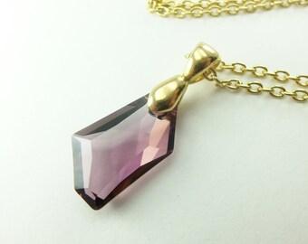 Modern Mauve Pendant Necklace Swarovski Crystal Yellow Gold