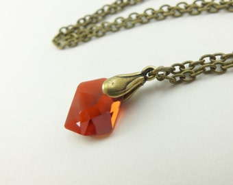 Burnt Orange Necklace Crystal Antiqued Brass Dark Orange Necklace