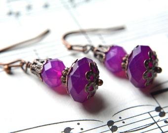 Dark Purple Dangle Earrings Purple Jewelry Antiqued Copper Purple Earrings