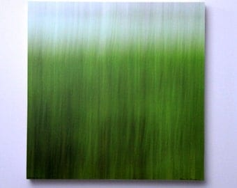 Abstract Nature Photo, Green Grass, CLEARANCE, Spring Color, Nursery Art, Modern Wall Art, 16X16 Wood Panel,  Ready to Hang