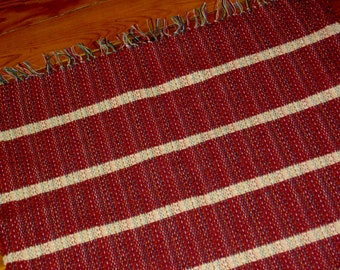 Cranberry and Cream Handwoven Wool Rug , Striped Wool Rug
