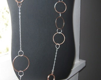 Sterling Silver and Copper Long Asymmetrical Circle Link Necklace