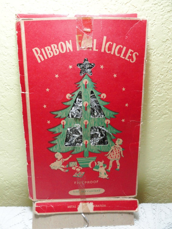 Vintage christmas tree icicles holiday tinsel by