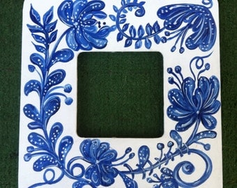 Blue and White Floral Painted Wooden Frame
