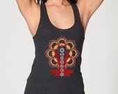 Chakras by Chill Clothing Co on American Apparel Tri Tank in Heather Black