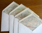 Canadian and Arctic area 1930s map lined envelopes.  Recycled  Travel art.  Set of 9.  A2 size.