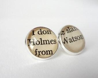 Sherlock Holmes Stud Earrings, Silver Studs, Geekery, Book Jewellery