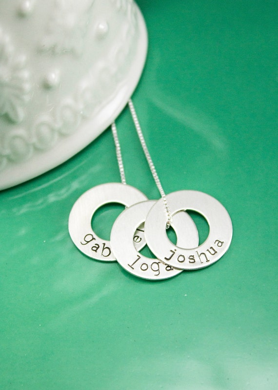 Names Necklace - Personalized Washer Necklace - Custom sterling silver open circle jewelry - mom necklace - grandma necklace - hand stamped