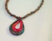 CLEARANCE PRICED - Kumihimo Braided and Beaded Necklace with Glass Pendant