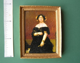 PICTURE 'Lady Black Dress' hand finished 'oil painting effect'  Dolls House Miniature 12th scale
