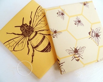 Honey Bee Mustard Printable Gift Wrap Papers