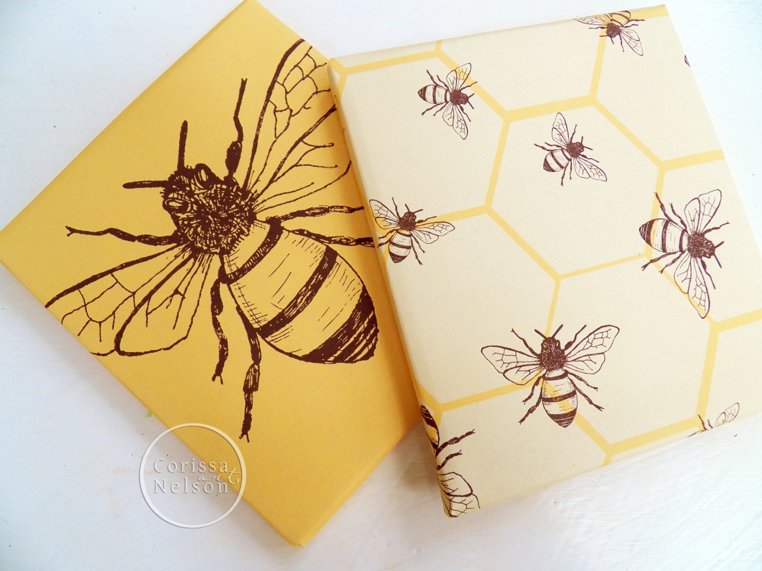 honey bee mustard printable gift wrap papers from corissanelsonart on etsy studio. Black Bedroom Furniture Sets. Home Design Ideas