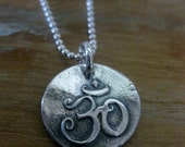 OM silver pendant necklace