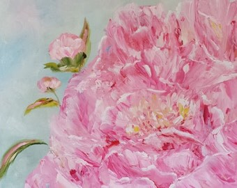 peony oil painting still life peonies pink flower flowers petals romance love bud garden beauty original floral fine art 12x12 - Peony II