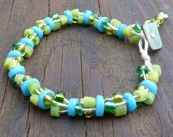 Lime Green and Turquoise Bracelet - Green Glass Beads, Turquoise Blue Recycled Glass Discs, Natural Hemp, Multi Strand Bracelet