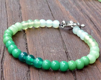 Green Ombre Bracelet - Green Glass Beads, Ombre Style, Toggle Clasp Bracelet