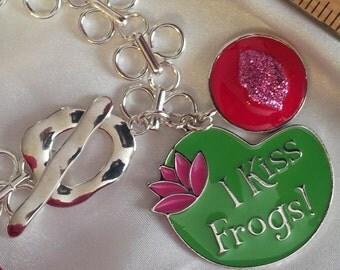 I Kiss Frogs Toggle Charm Bracelet , Valentine Bracelet , Valentine Charm Bracelet , Valentine's Day Charm Bracelet ,