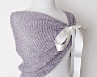Grey Mohair Bridal Wedding Romantic Shrug Capelet Shawl-Felted Brooch-Ready for shipping