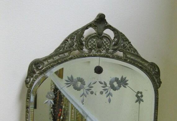 Vintage Etched Wall Mirror Ornate Wood Framed Gesso Art Deco