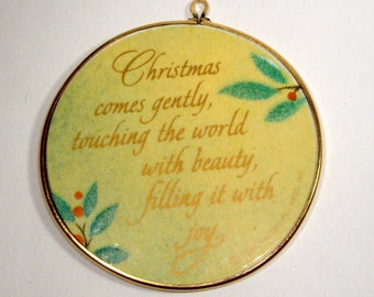 Vintage Hallmark Keepsake  Christmas Ornament, Christmas Beauty, Lacquer Look, Boxed, 1986  (775-13)