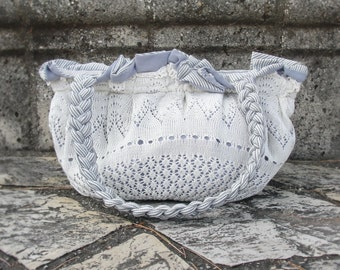 Pleated Doily Bag White and Light Blue Striped Purse