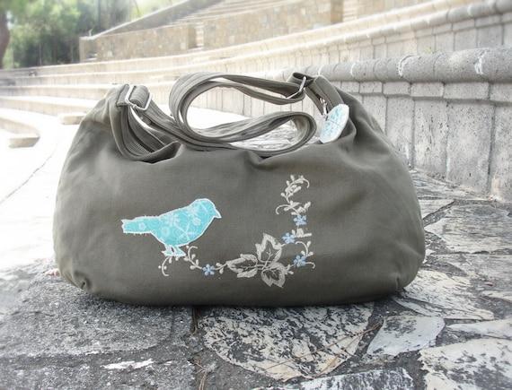 Green Bird Messenger with applique, zippered canvas bag
