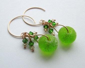 Sugar Hiccup green lampwork crystal and bronze earrings