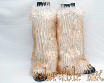 Ginger-Tipped Fox Monster Fur Leg Warmers / Fluffies / Boot Covers - Cosplay / Furry / Animal / Rave