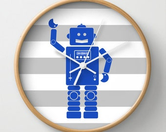 Robot 2 Blue Wall Clock 10 inch Diameter Gray and White Stripes
