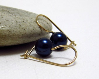 Petite Swarovski Pearl Drop  Earrings, Gold Filled or Sterling Silver Kidney Earwires, Travel Safe - Choose Your Colour