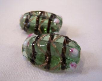 FREE SHIPPING - 2 pcs Handmade Lampwork Beads (#1916-1)