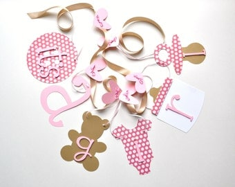 Pink and gold baby shower decorations baby it's a girl banner by ParkersPrints on Etsy