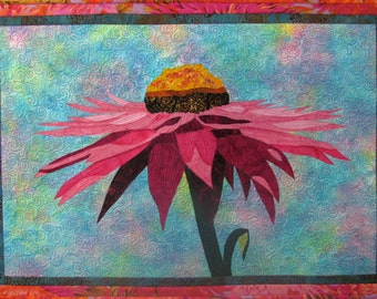 Magenta Cone Flower V Original Art Quilt by Lenore Crawford