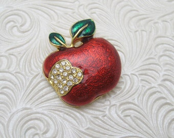 Rhinestone Apple Brooch Vintage Fruit Jewelry