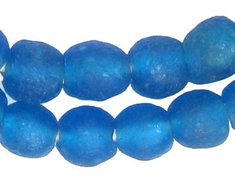 50 Recycled Glass Beads - 11mm Azul Blue - African Glass Beads - Jewelry Making Supplies - Made in Ghana ** (RCY-RND-BLU-646)