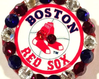 Boston Red Sox Swarovski Crystal Embellished Retractable ID Badge Reel