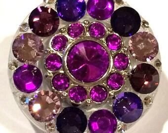 Purple Lavender Amethyst Violet Swarovski Crystal Embellished Retractable Swivel-Back ID Badge Reel