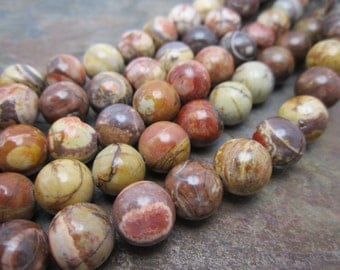 Birds Eye Rhyolite 10mm Round Semi Precious Beads