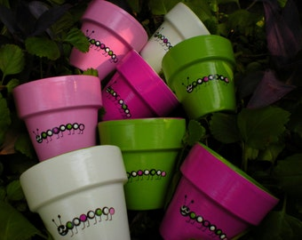 Painted Flower Pots - Small Flower Pots - Kids Party Favors - Seed Planting Party