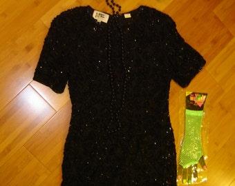 20's  flapper black sequin dress Halloween GATSBY COSTUME womens sz 6 access