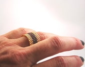 Golden and Mocha Brown Ring . Beadweaving Band Ring . Peyote Ring . Delica Seed Bead Ring . Preppy Stripe