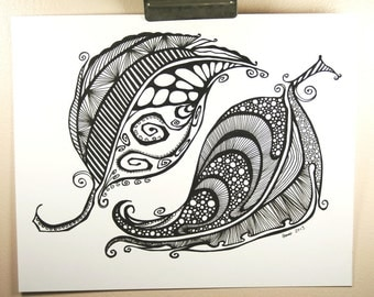 Abstract Feathers . Tattoo Art . Pen Drawing . Original Drawing . Feather Art . Black and White Art