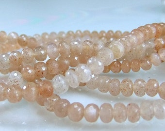 SALE-AAA Pink Moonstone Rondelles Micro Faceted  Grey Moonstone Gemstone Beads 8 inches