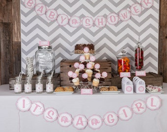 "Girl Baby Shower Decorations - Elephant Baby Shower Decorations - ""ITS A GIRL"" Banner, Baby Shower Decoration in Pink and Grey"