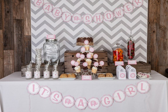Girl baby shower decorations elephant baby shower for Baby shower decoration for girl