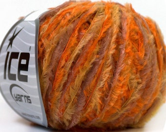 SHORT EYELASH Orange Lilac Green ice yarns 50gr polyester fur 4 medium worsted aran afghan ships from usa 27943